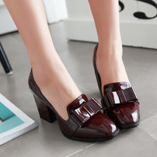 Load image into Gallery viewer, Chunky High Heels Bow Shallow Toe Women Pumps