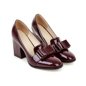 Chunky High Heels Bow Shallow Toe Women Pumps