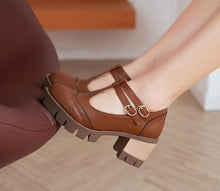 Load image into Gallery viewer, Casual T Straps Round Toe Buckle Thick Heels Women Shoes Plus Size