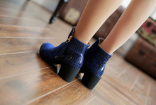 Load image into Gallery viewer, Women Ankle Boots High Heels Zipper Flock Women Shoes 7573