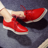 Pointed Toe Lace Up Women Flats Casual Shoes