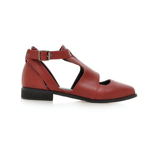 Pointed Toe Women Wedges Buckle Platform Shoes