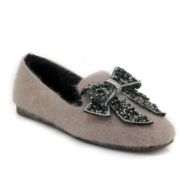 Women's Loafers Rhinestone Bowtie Flats Shoes