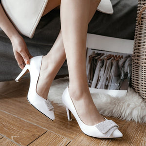 Pointed Toe Rhinestone High Heels Women Pumps