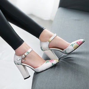 Ankle Strap Thick-heeled Sandal National Style Super High Heels
