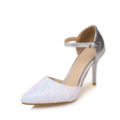 Women's Pointed Toe Sequined Buckle High Heel Bridal Stiletto Heel Sandals