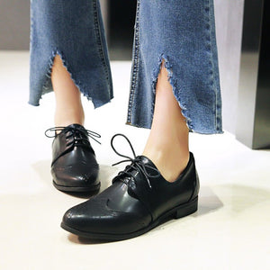 Women's Lace Up Low Heels Oxford Shoes
