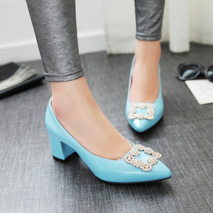 Pointed Toe High Heel Women Block Heels Pumps