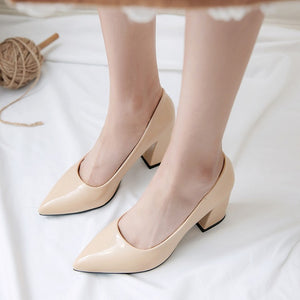 Pointed Toe Block High Heel Shallow Mouth Wedding Shoes