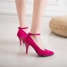 Load image into Gallery viewer, Pointed Toe Ankle Strap High Heel Women Pumps