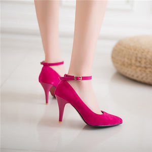 Pointed Toe Ankle Strap High Heel Women Pumps