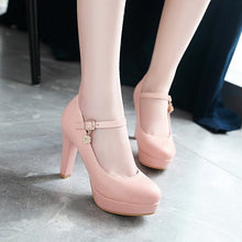 Load image into Gallery viewer, Ankle Strap Round Head Platform High Heel Women Pumps