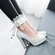 Load image into Gallery viewer, Lace Flower Mary Janes Chunky Heel Pumps for Women