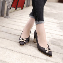 Load image into Gallery viewer, Pointed Toe High Heel Block Heel Pumps