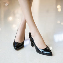 Load image into Gallery viewer, Patent Leather High Heel Block Heel Pumps
