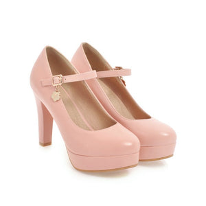 Ankle Strap Round Head Platform High Heel Women Pumps