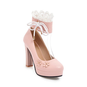 Lace Flower Mary Janes Chunky Heel Pumps for Women
