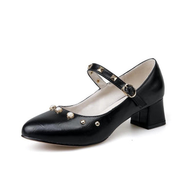Shallow Toe Buckle Women's Pumps Middle Heels Shoes