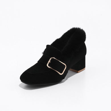 Suede Women Chunky Middle Heels Shoes