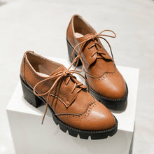 Load image into Gallery viewer, Lace Up Women Pumps Platform Oxfords High Heels Shoes Woman