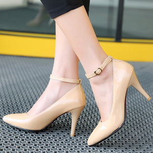 Pointed Toe Patent Leather High Heel Pumps