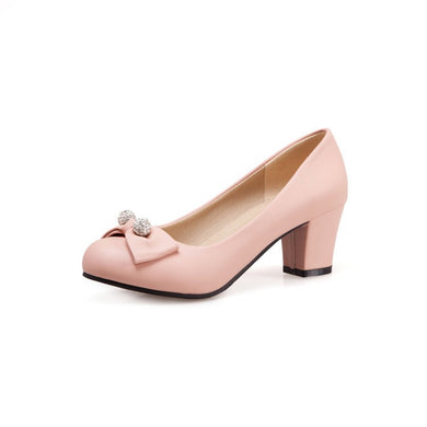 Round-Headed Butterfly Knot Women's Pumps Middle Heels Shoes