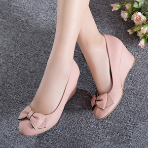 Sweet Bow Wedges Shoes Women Heels Pumps