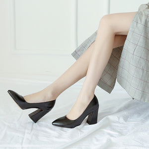 High Heel Block Heel Pumps