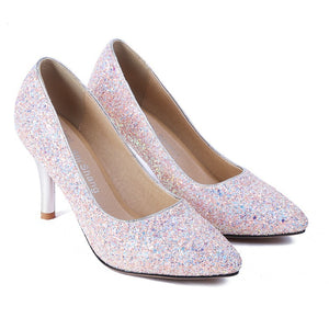 Stiletto High Heel Pointed Toe Sequined Wedding Shoes Women Pumps
