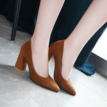 Load image into Gallery viewer, Pointed Toe High Heel Shallow Mouth Block Heel Pumps