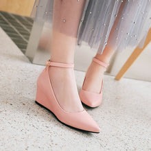 Load image into Gallery viewer, Pointed Toe Ankle Strap Leisure Wedges Middle Heels