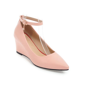 Pointed Toe Ankle Strap Leisure Wedges Middle Heels