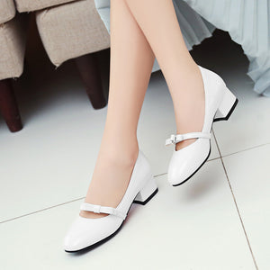 Casual Thick Heel Shallow Bowtie Shoes Women Chunky Pumps