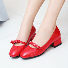 Load image into Gallery viewer, Casual Thick Heel Shallow Bowtie Shoes Women Chunky Pumps