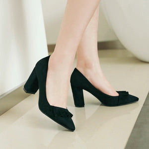 High Heel Lace Shallow Mouth Elegant Large Size Women Pumps