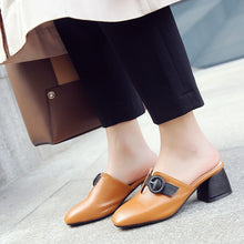 Load image into Gallery viewer, Leisure Medium-heel Thick-heel Slipper Women Chunky Heels Shoes
