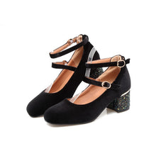 Load image into Gallery viewer, Korean Square Head Sequins Low Heels Shallow Mouth Women Chunky Heels Pumps