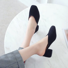Load image into Gallery viewer, Shallow Toe Thick Heel Women Chunky Heels Pumps