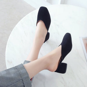 Shallow Toe Thick Heel Women Chunky Heels Pumps