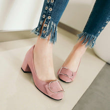 Load image into Gallery viewer, Bow Pumps Chunky Heels Rhinestone Women Shoes