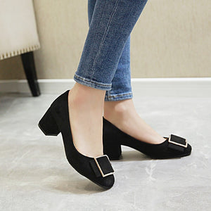 Medium Heel Rough Heel Shallow Mouth Large Size Student Single Shoe Women Chunky Pumps