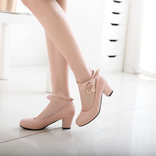 Load image into Gallery viewer, Princess Buckle Thick Heel Women Chunky Pumps