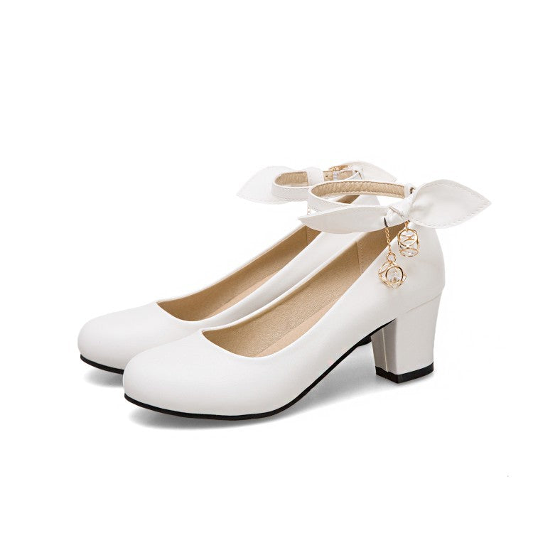 Princess Buckle Thick Heel Women Chunky Pumps