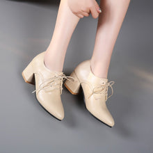 Load image into Gallery viewer, Lace Up Women Chunky Medium Heel Shoes