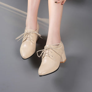 Lace Up Women Chunky Medium Heel Shoes