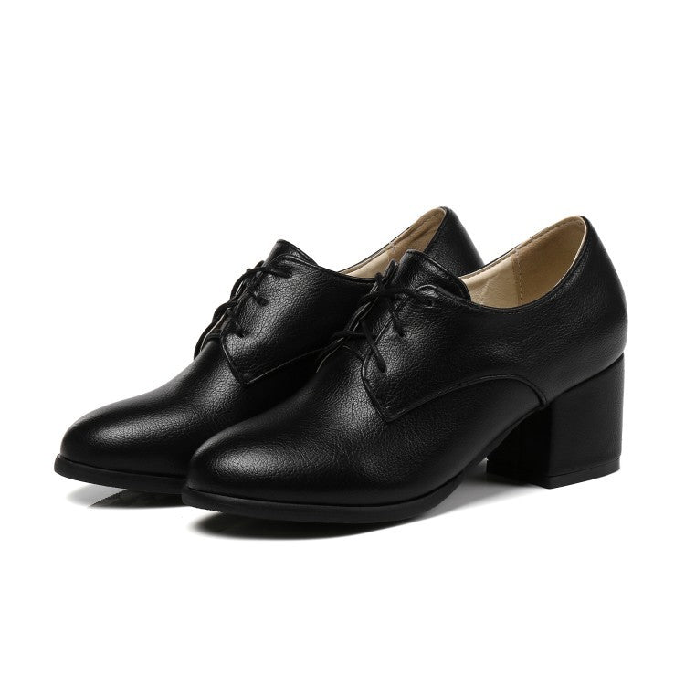 Leisure Round-heeled Lace Up Oxford Shoes