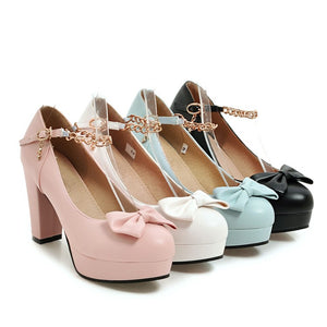 Sweet Butterfly Knot High-heel Platform Pumps