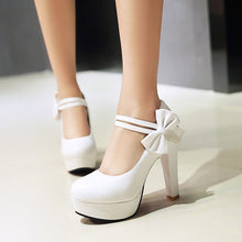 Load image into Gallery viewer, Sweet Bow Chunky High Heel Size Women Pumps Princess Shoes