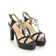 Load image into Gallery viewer, Women's Platform Super High Heel Rhinestone Chunky Heel Sandals