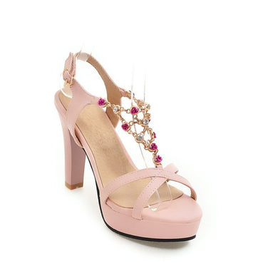 Women's Platform Super High Heel Rhinestone Chunky Heel Sandals
